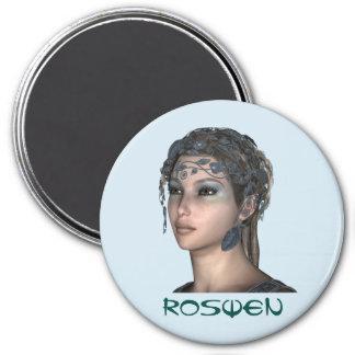 3インチの円形の磁石; 妖精のコレクション: Roswen マグネット