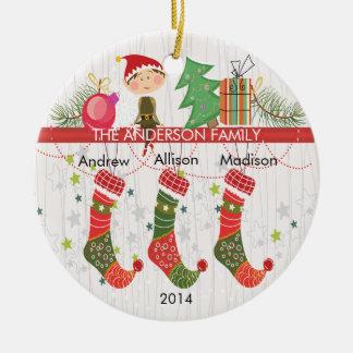 3クリスマスのオーナメントのかわいい小妖精や小人のストッキングの系列 セラミックオーナメント