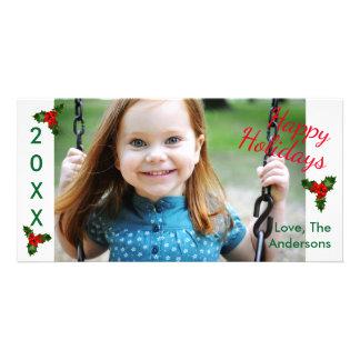 3ヒイラギの幸せな休日-クリスマスの写真カード カード