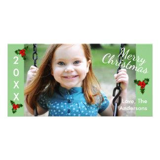 3ヒイラギの緑のメリーなクリスマスクリスマスの写真カード カード