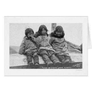3人のエスキモーの子供Nome 1908年 カード