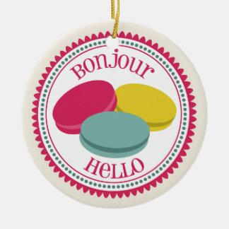 3人のフランス人のマカロンのBonjourのこんにちはオーナメント セラミックオーナメント