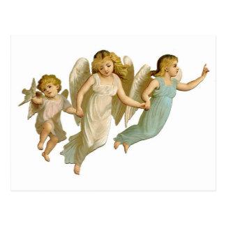 3人のヴィンテージの天使の女の子 ポストカード