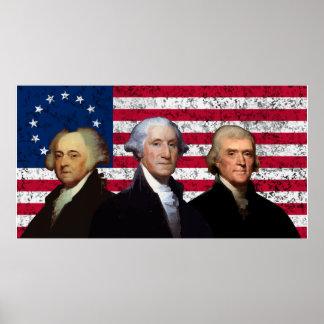 3人の大統領および米国旗 ポスター
