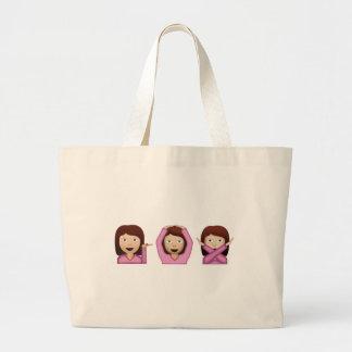 3人の女の子Emoji ラージトートバッグ