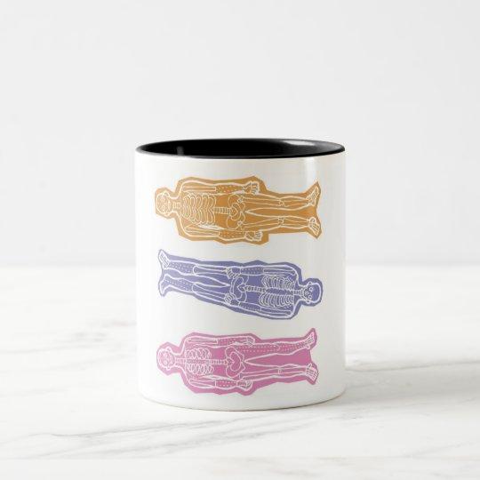 3人の骸骨カラフルマグカップ - 3 colorful skeletons mug ツートーンマグカップ