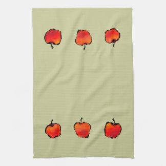 3個のりんごの台所タオル キッチンタオル