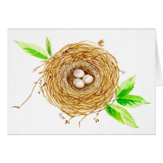 3個の卵が付いている水彩画の鳥の巣 カード