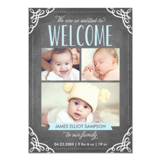 3写真の歓迎された黒板 の誕生の発表 カード