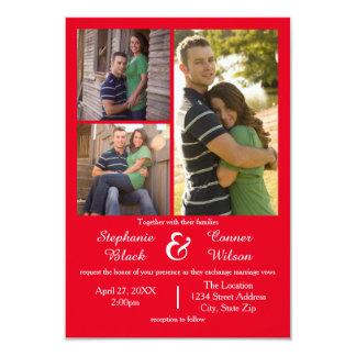 3写真の赤3x5結婚式招待状 8.9 x 12.7 インビテーションカード