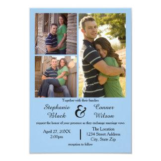 3写真の青3x5結婚式招待状 カード