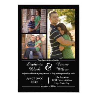 3写真の黒3x5結婚式招待状 8.9 x 12.7 インビテーションカード