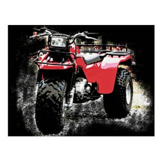 3動かされたATC赤いTrikeのモーターバイク ポストカード