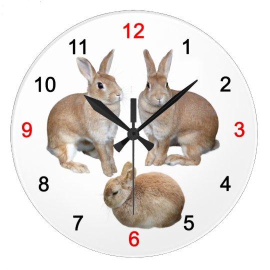 3匹のうさぎの壁掛け時計 ラージ壁時計