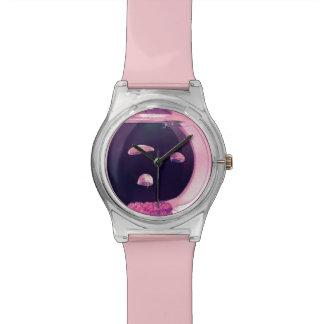 3匹のピンクのくらげの魚飼育用の水槽の調節可能な腕時計 腕時計