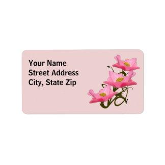 3匹のピンクのケシのボーダー ラベル
