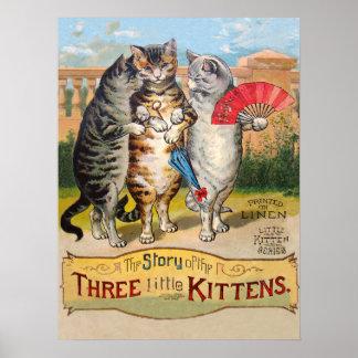 3匹の小さい子ネコのマザー・グース ポスター