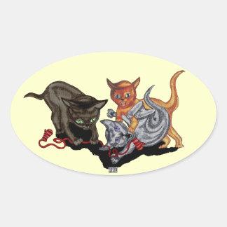 3匹の小さい子ネコ 楕円形シール