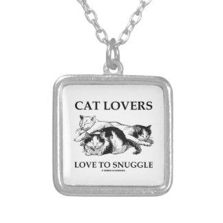 3匹の猫に寄添う猫好き愛 シルバープレートネックレス