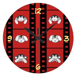 3匹の猿の時計 ラージ壁時計