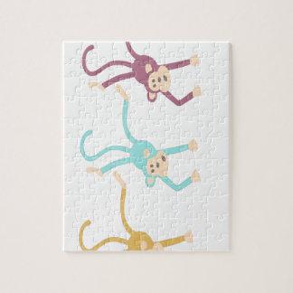 3匹の猿の遊ぶこと ジグソーパズル