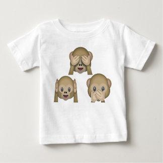 3匹の猿のEmojiの赤ん坊のTシャツ ベビーTシャツ