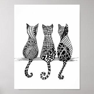 3匹の白黒猫のプリント ポスター