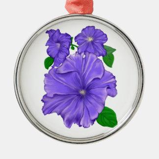 3匹の紫色のペチュニア メタルオーナメント
