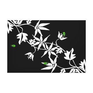 3匹の緑のオオタマオシコガネとのキャンバスのプリントのクレマチスのデザイン キャンバスプリント