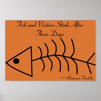 3日のプリントの後の魚および訪問者の悪臭 ポスター