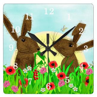 3月のかわいくお洒落なノウサギ スクエア壁時計