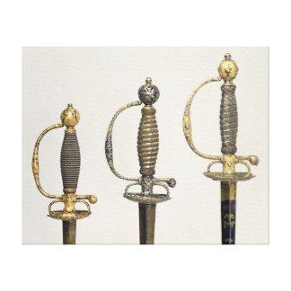 3本のフランスのな剣の柄: 鋼鉄の1つ キャンバスプリント