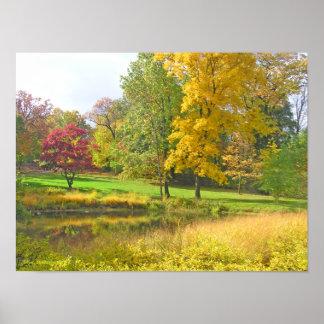 3本の木: バラ色の赤; 金黄色; ライムグリーン ポスター