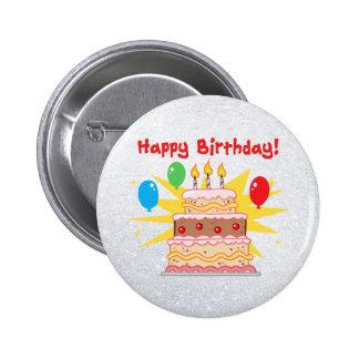 3本の蝋燭が付いているハッピーバースデーのケーキ 5.7CM 丸型バッジ