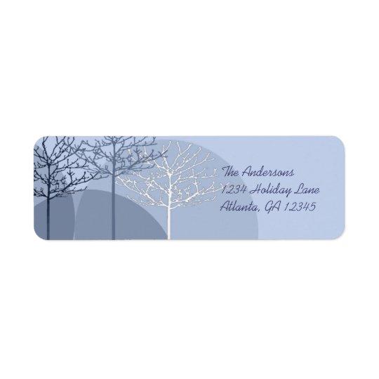 3本の青い木の差出人住所 返信用宛名ラベル