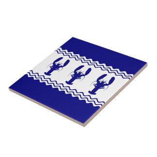 3濃紺そして白い沿岸装飾のロブスター タイル