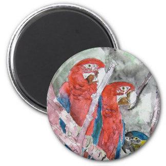 3羽のオウムの鳥の動物の野性生物の動物園の水彩画の芸術 マグネット