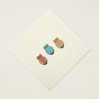 3羽のフクロウ スタンダードランチョンナプキン