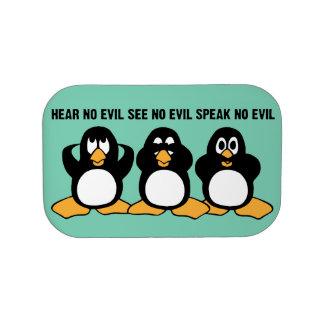 3羽の賢いペンギンのデザインのグラフィック ランチボックス