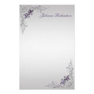 #3華美な紫色の銀製の花柄の渦巻の文房具 便箋
