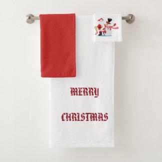3部分タオルの一定のメリークリスマス バスタオルセット