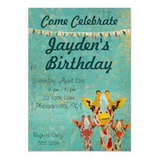 3頭のかいま見るキリンの誕生日の招待状 12.7 X 17.8 インビテーションカード