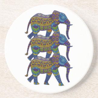 3頭のカラフルなモザイク象 コースター