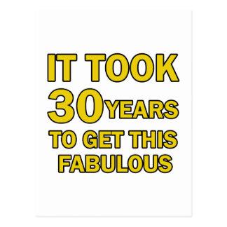 30の誕生日のデザイン ポストカード