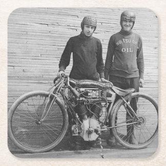30年代のオートバイのレーサーのコースター スクエアペーパーコースター