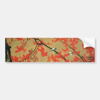 30. 紅葉小禽図、若冲のかえで及び小さい鳥、Jakuchū バンパーステッカー