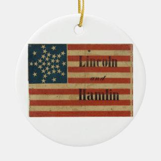 31星1860年のリンカーンおよびHamlinの米国旗 セラミックオーナメント