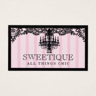 311のSweetiqueのピンクのストライプ及びレースのシャンデリア 名刺