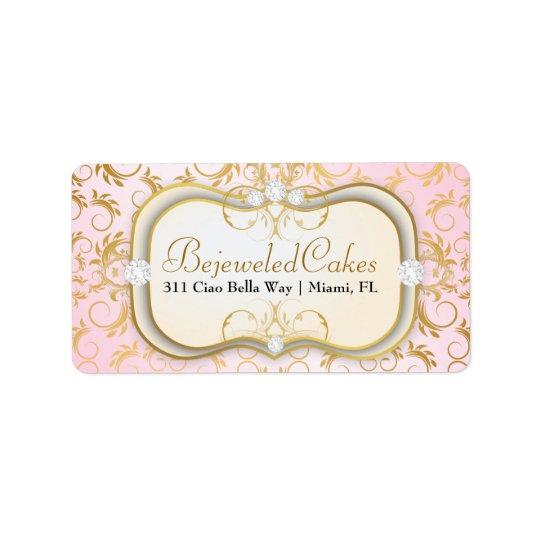 311クリーム色Ciao Bellaの金神のピンク 宛名ラベル