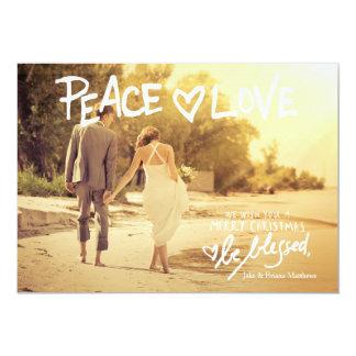 311平和愛手書きのタイポグラフィの休日カード カード
